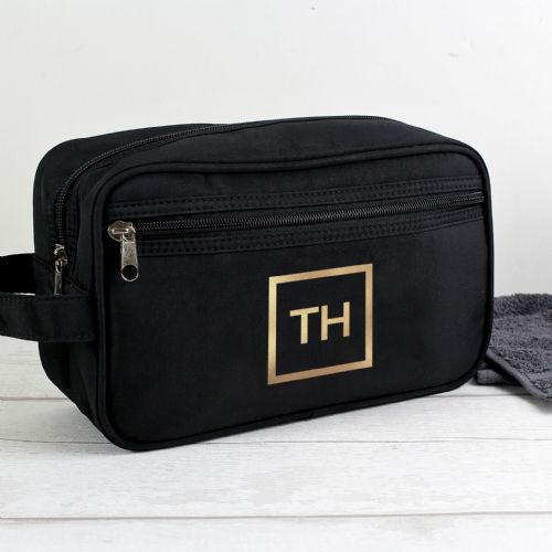 Personalised Gold Initials Black Wash Bag